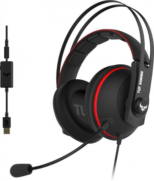 Гарнитура Asus TUF Gaming H7, jack 3.5 mm, черный/красный (90YH01VR-B8UA00)
