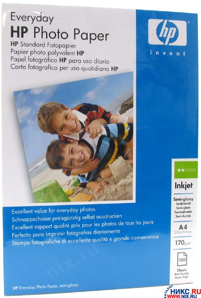 Фотобумага A4 200г/м² глянцевая, 100 листов, односторонняя, HP Everyday/Q2510A для струйной печати