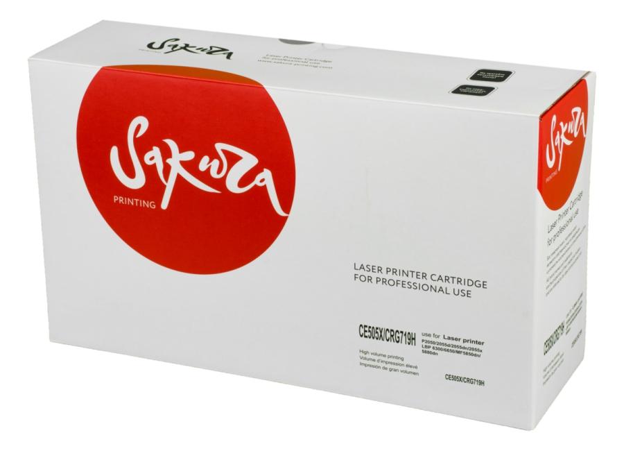 Картридж лазерный SAKURA SACE505X/CRG719H (CE505X/CRG-719II), черный, 6500 страниц, совместимый, для LBP 6300/6650/imageCLASS MF5850dn/5880dn, LJ P2050/2055d/2055dn/2055x