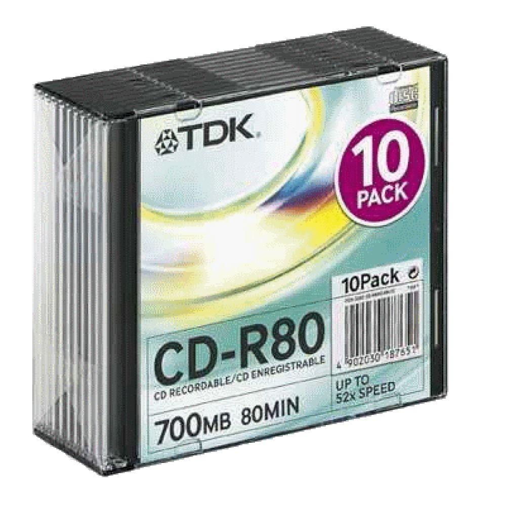 Диск CD-R 700Mb 52x TDK, Slim Case (10шт)