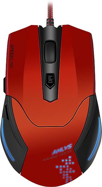 Мышь проводная Speedlink AKLYS, 2000dpi, оптическая светодиодная, USB, красный (SL-680001-BKRD)