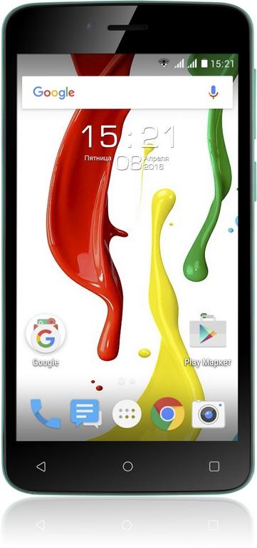 "Смартфон Fly Nimbus 7 FS505 5"" 854x480, TN, MT6580, 512Mb RAM, 8Gb, 3G, WiFi, BT, 2xCam, 2-Sim, 2000mAh, Android 5.x, черный/зеленый"