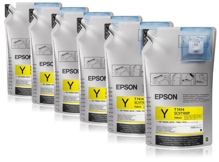 Чернила Epson T773440, 6шт. x 1л, желтый, оригинальные, для Epson SC-B6000 / B7000