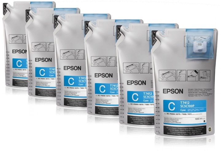 Чернила Epson T773240, 6шт. x 1л, голубой, оригинальные, для Epson SC-B6000 / B7000