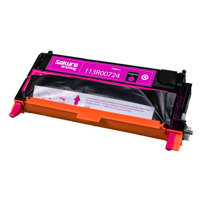 Картридж лазерный SAKURA SA113R00724 (113R00724), пурпурный, 6000 страниц, совместимый, для Xerox XEROX P6180