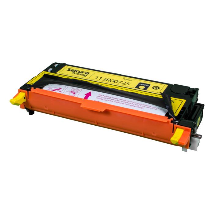Картридж лазерный SAKURA SA113R00725 (113R00725), желтый, 6000 страниц, совместимый, для Xerox XEROX P6180