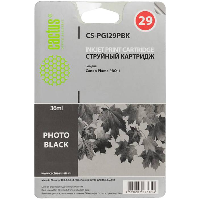Картридж струйный Cactus CS-PGI29PBK (PGI-29PBK), черный для фото, совместимый, 36мл, для Canon PIXMA-PRO-1