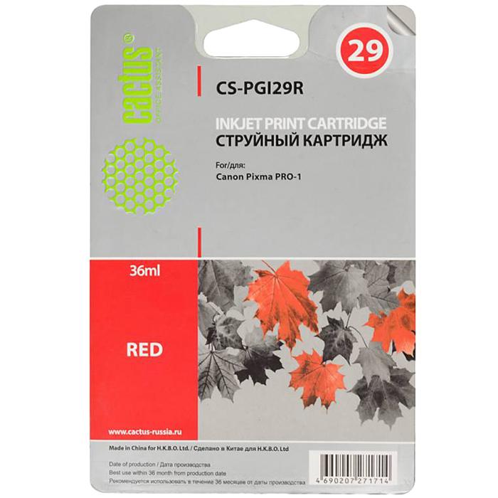 Картридж струйный Cactus CS-PGI29R (PGI-29R), красный, совместимый, 36мл, для Canon PIXMA-PRO-1