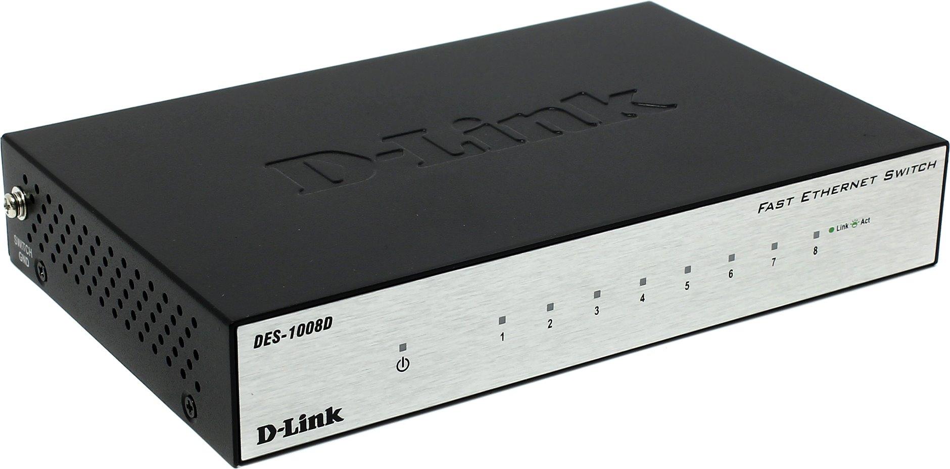Коммутатор D-link DES-1008D, кол-во портов: 8x100 Мбит/с (DES-1008D/L2B)