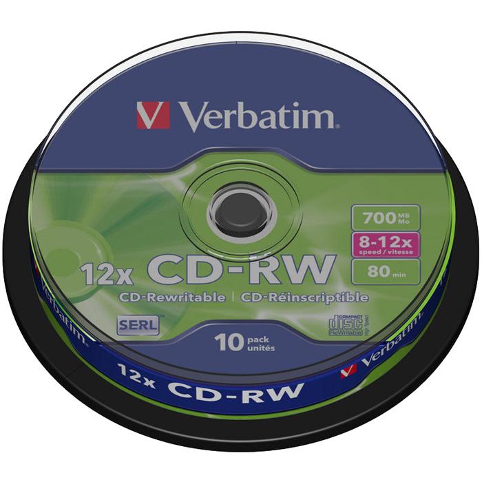 Диск Verbatim CD-RW, 700Mb, 10x, Cake Box, 10 шт, DataLife+