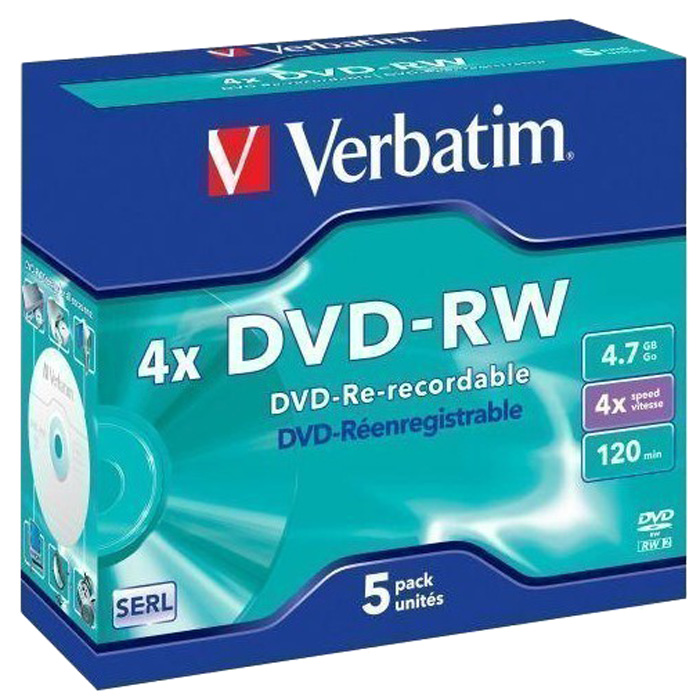 Диск Verbatim DVD-RW, 4.7Gb, 4x, Jewel Case, 5 шт