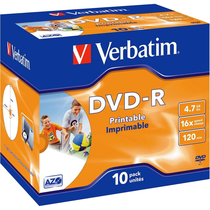 Диск Verbatim DVD-R, 4.7Gb, 16x, Jewel Case, 10 шт, Printable