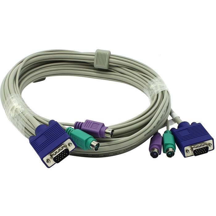 Кабель TRENDnet TK-C15 для KVM переключателей (PS/2+PS/2+VGA15M, 4.5м)