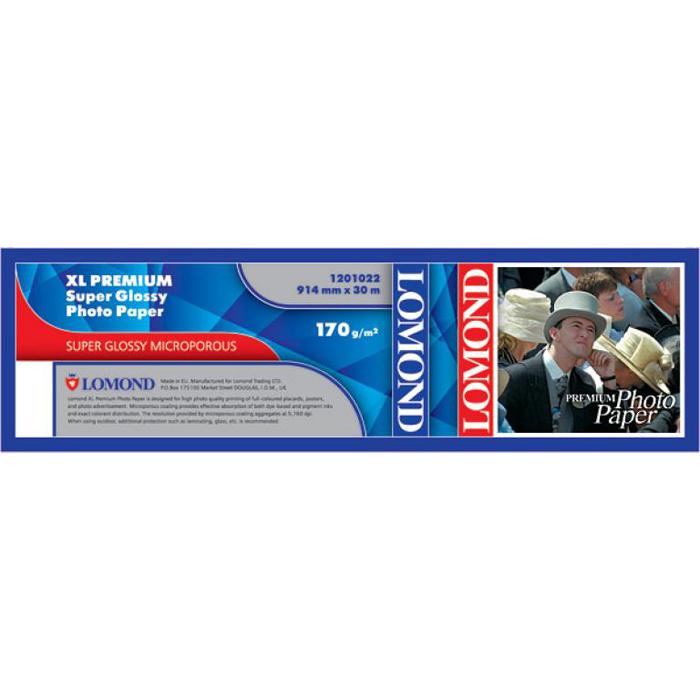 """Бумага рулон 36""""(914мм) x 30м, 200г/м2, суперглянцевая, Lomond XL Premium Super Glossy Photo Paper (1201022)"""