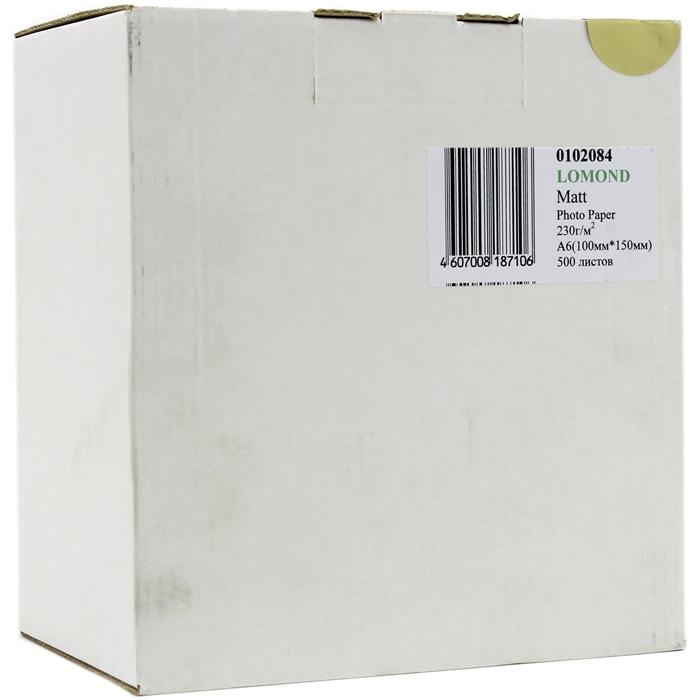 Фотобумага A6 230г/м2 матовая, 500 листов, односторонняя, Lomond 0102084 для струйной печати