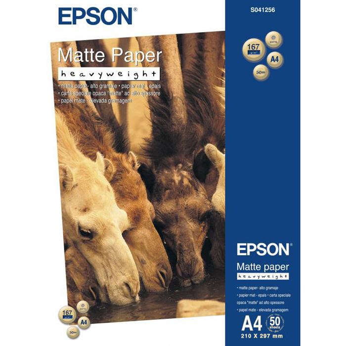 Фотобумага A4 167г/м2 матовая, 50 листов, односторонняя, Epson S041256/C13S041256 для струйной печати