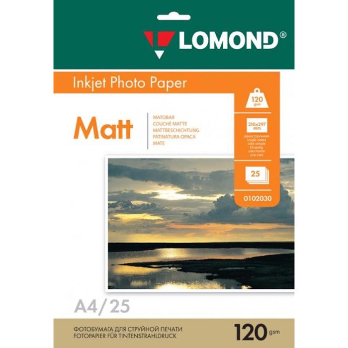 Фотобумага A4 120г/м2 матовая, 25 листов, односторонняя, Lomond 0102030 для струйной печати