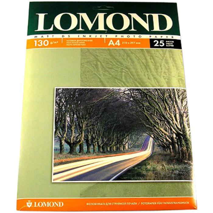 Фотобумага A4 130г/м2 матовая, 25 листов, двусторонняя, Lomond 0102039 для струйной печати