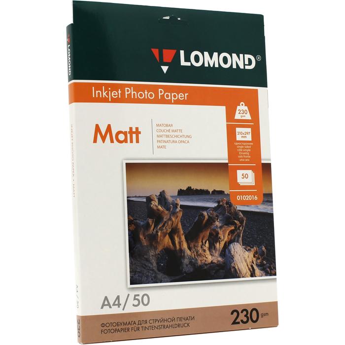 Фотобумага A4 230г/м2 матовая, 50 листов, односторонняя, Lomond 0102016 для струйной печати
