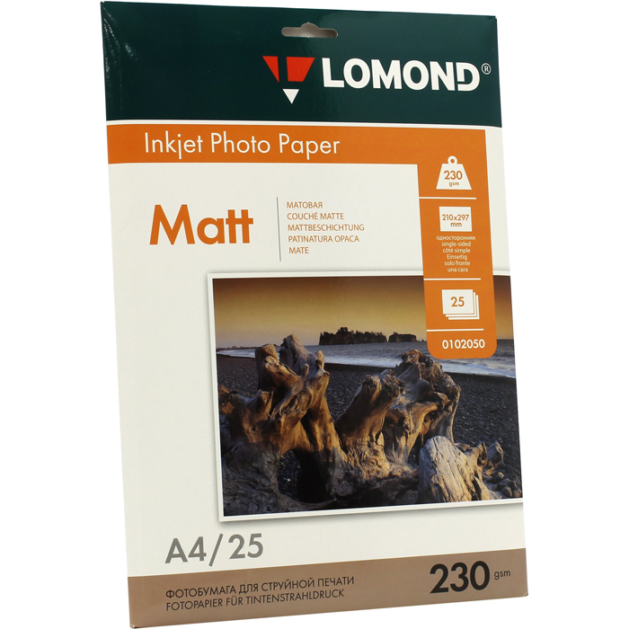 Фотобумага A4 230г/м2 матовая, 25 листов, односторонняя, Lomond 0102050 для струйной печати