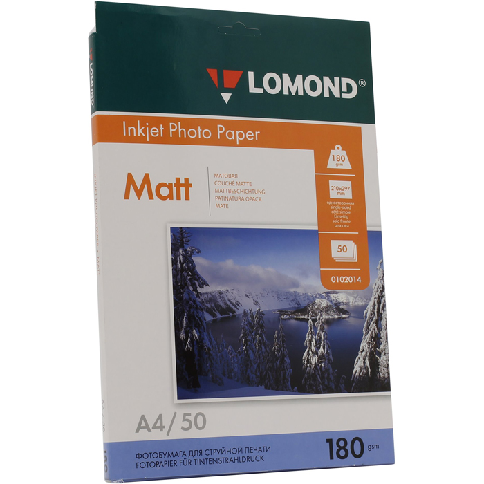 Фотобумага A4 180г/м2 матовая, 50 листов, односторонняя, Lomond 0102014 для струйной печати