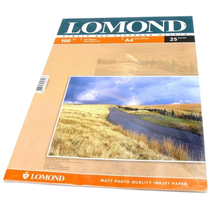 Фотобумага A4 100г/м2 матовая, 25 листов, двусторонняя, Lomond 0102038 для струйной печати
