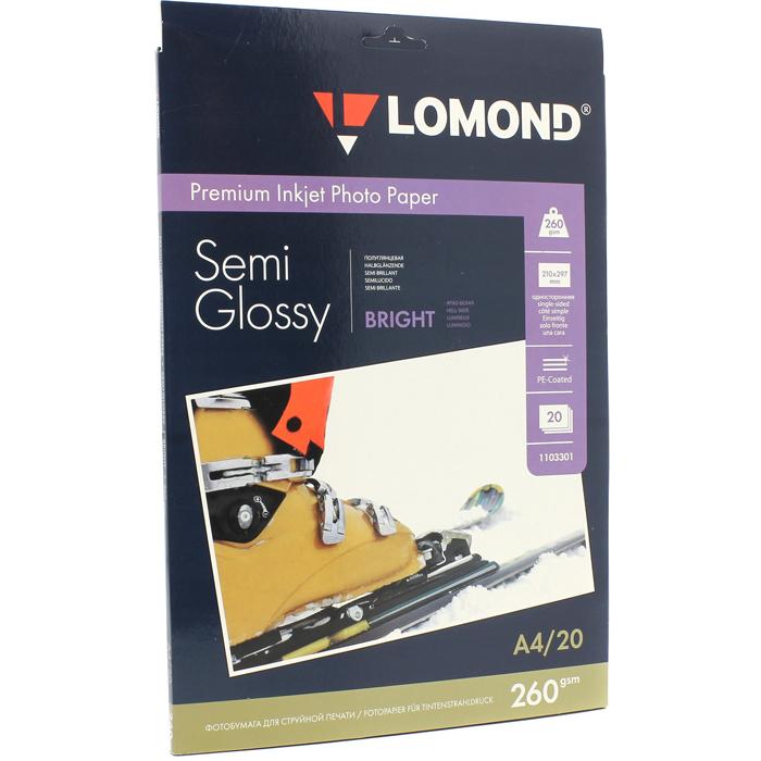 Фотобумага A4 260г/м2 полуглянцевая, 20 листов, односторонняя, Lomond 1103301 для струйной печати