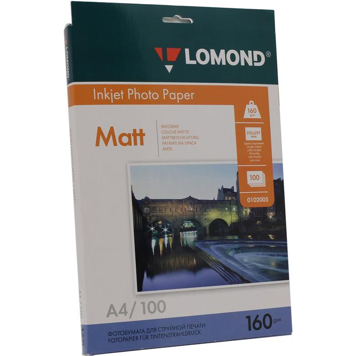 Фотобумага A4 160г/м2 матовая, 100 листов, односторонняя, Lomond 0102005 для струйной печати