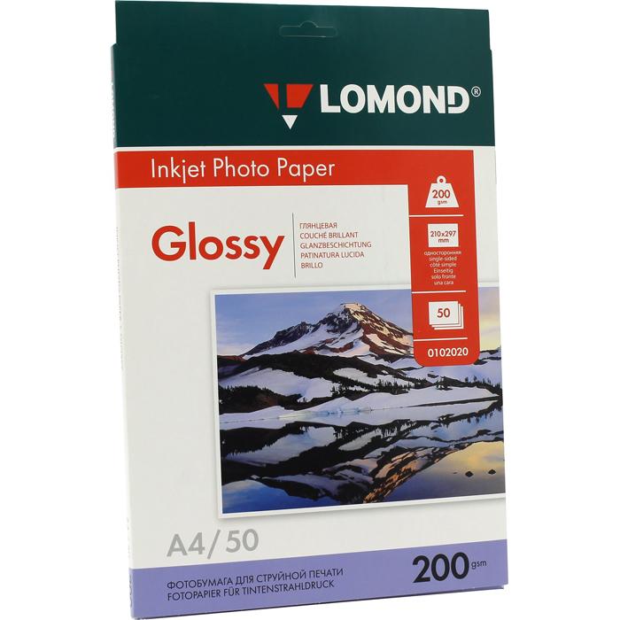 Фотобумага A4 200г/м2 глянцевая, 50 листов, односторонняя, Lomond 0102020 для струйной печати