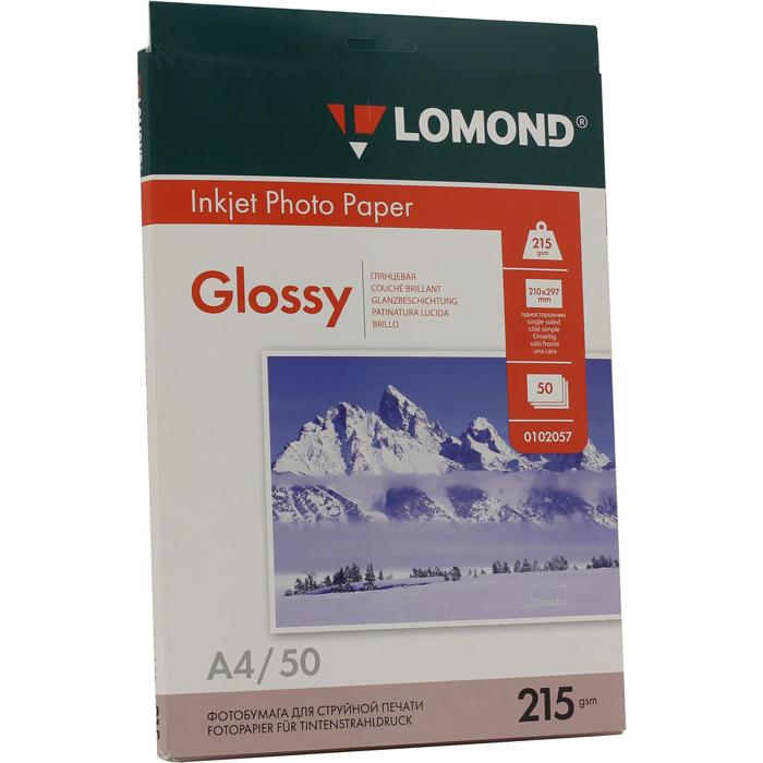 Фотобумага A4 215г/м2 глянцевая, 50 листов, односторонняя, Lomond 0102057 для струйной печати