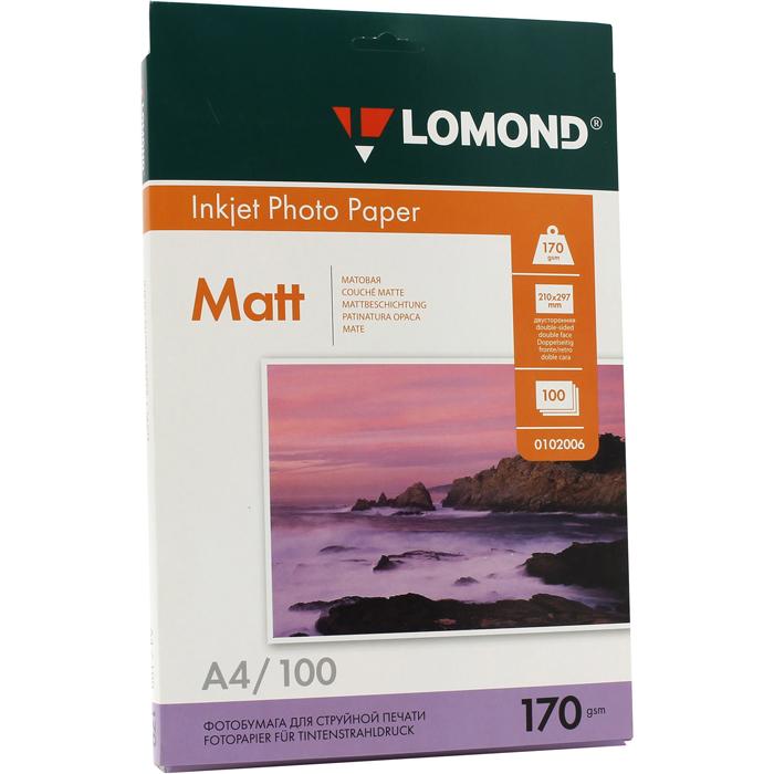 Фотобумага A4 170г/м2 матовая, 100 листов, двусторонняя, Lomond 0102006 для струйной печати