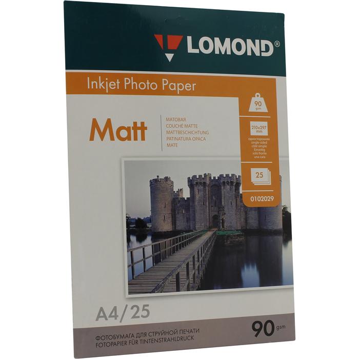 Фотобумага A4 90г/м2 матовая, 25 листов, односторонняя, Lomond 0102029 для струйной печати