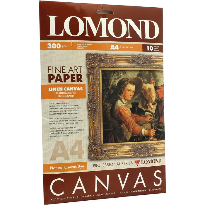 Холст A4 300г/м2, 10 листов, односторонняя, Lomond 0908411 для струйной печати