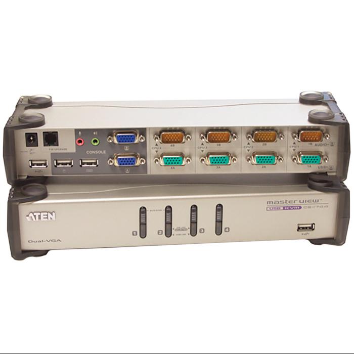 Переключатель ATEN CS-1744C-A 4-port настольный USB KVM + 2xUSB порта, комплект кабелей