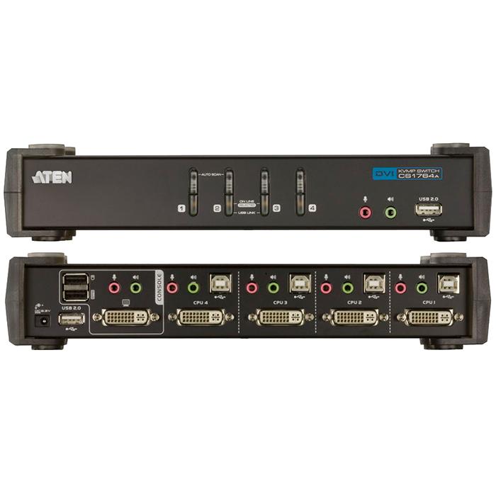KVM-переключатель ATEN CS1764A, 4-порта USB 2.0 DVI (CS1764A-AT-G)
