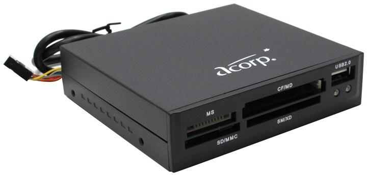 Картридер Acorp внутренний, мультиформатный, USB 2.0, черный (CRIP200-B)