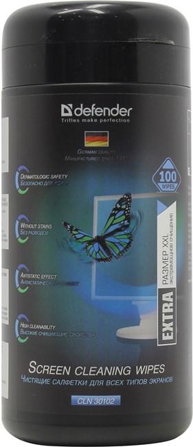 Салфетки влажные 100шт. для экранов CLN 30102 Defender