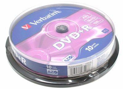 Диск Verbatim DVD+R, 4.7Gb, 16x, Cake Box, 10 шт