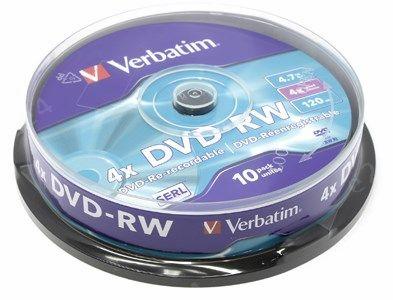 Диск Verbatim DVD-RW, 4.7Gb, 4x, Cake Box, 10 шт