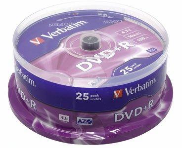 Диск Verbatim DVD+R, 4.7Gb, 16x, Cake Box, 25 шт