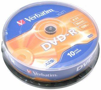 Диск Verbatim DVD-R, 4.7Gb, 16x, Cake Box, 10 шт