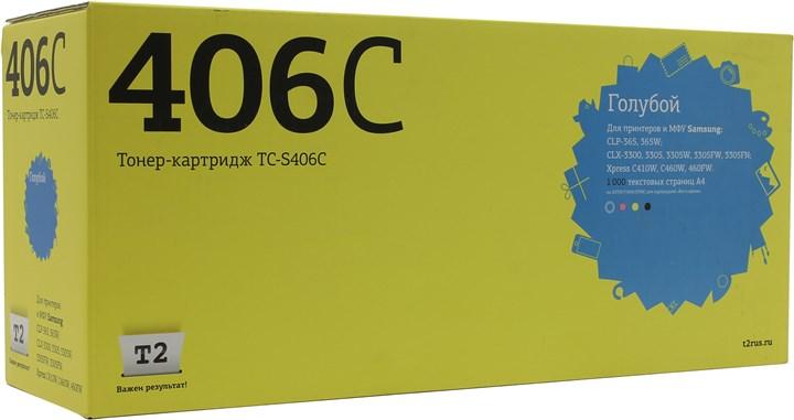 Картридж T2 TC-S406C для Samsung CLP-365/CLX-3300/3305/Xpress C410, 1000 стр., голубой, с чипом