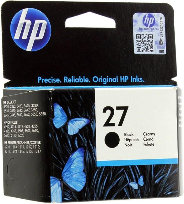 Картридж струйный HP 27 (C8727AE), черный, оригинальный, объем 10мл, ресурс 280 страниц, для HP Officejet 4355 / 4212 / 5610 / 4255 / 6160, HP PSC 1315 / 1210 / 1216 / 1315 / 1215, HP Deskjet 3845 / 5150 / 3325 / 3420