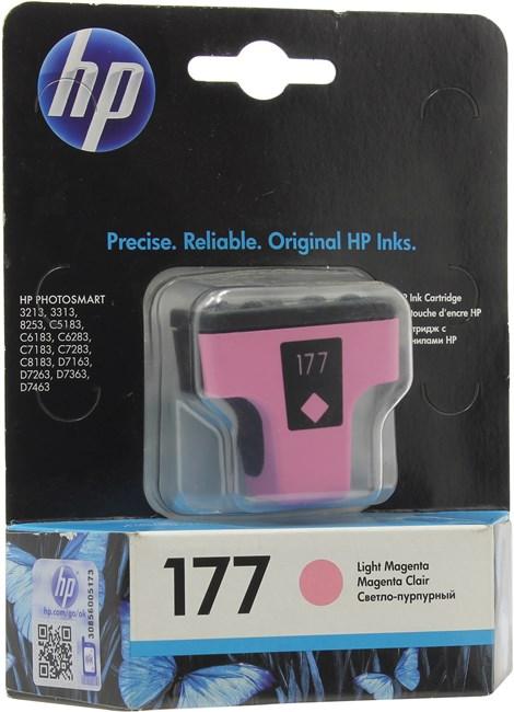 Картридж струйный HP 177 (C8775HE), светло-пурпурный, оригинальный, ресурс 230 страниц, для HP Photosmart C7183 / C5183 / C6283 / C7283 / C8183 / D7163 / D7263 / D7363 / D7463 / C6183 / 3213 / 3313 / 8250 / 8253