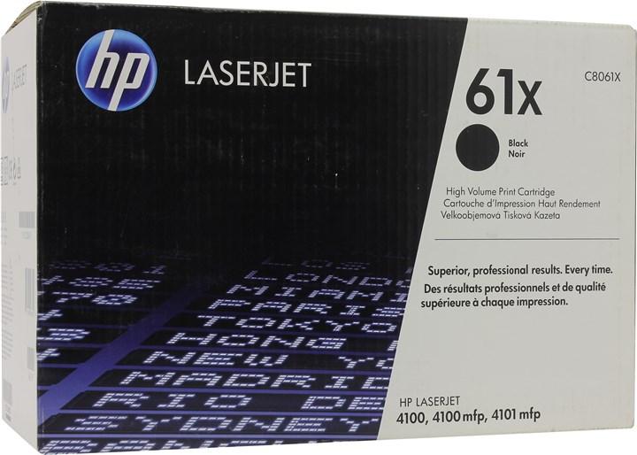 Картридж лазерный HP 61X/C8061X, черный, 1шт., 10000 страниц, оригинальный, для HP LaserJet 4100 seria