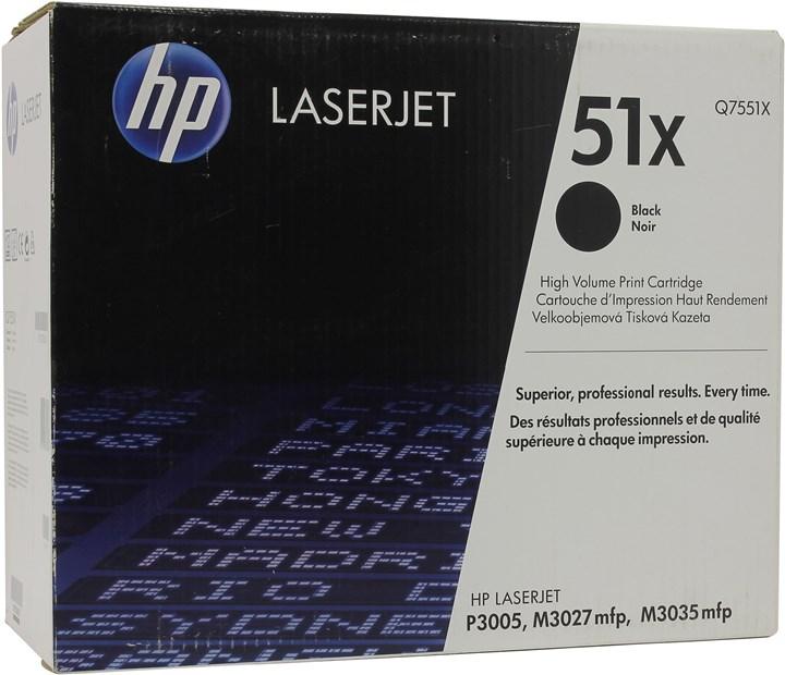 Картридж лазерный HP 51X/Q7551X, черный, 1шт., 13000 страниц, оригинальный, для HP LaserJet M3027x / M3027 / M3035 / M3035xs / M3005 / M3005d / M3005dn / M3005n / M3005x
