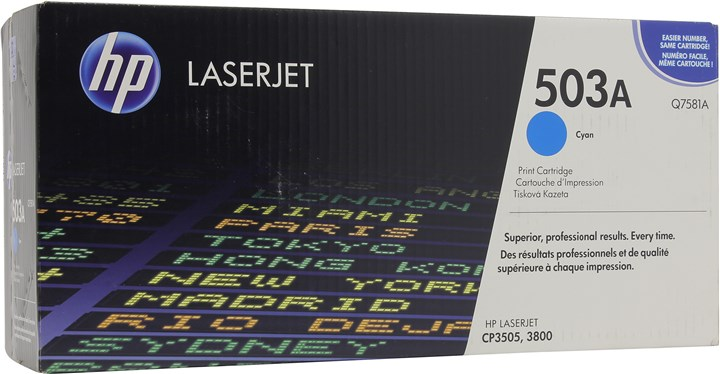 Картридж лазерный HP 503A/Q7581A, голубой, 1шт., 6000 страниц, оригинальный, для HP Color LaserJet 3800 / CP3505