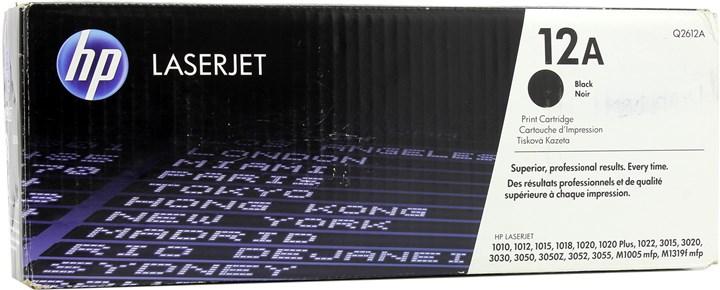 Картридж лазерный HP 12A/Q2612A, черный, оригинальный для HP LaserJet M1005 / M1319f / 3050 / 3050z / 3015 / 3020 / 3030 / 1010 / 1012 / 1015 / 1020 / 1022 / 1022n / 1022nw