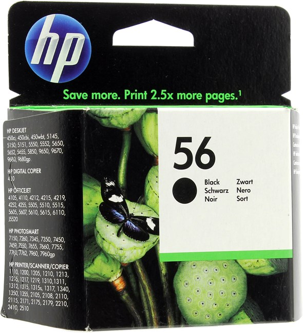 Картридж струйный HP 56 (C6656AE), черный, оригинальный, объем 19мл, ресурс 520 страниц, для HP Deskjet 5550 / 5150 / 450cbi, HP Officejet 4212 / 5610 / 4255 / 6160, HP PSC 1315 / 2210 / 2410 / 1210 / 1216 / 1315 / 2175 / 1215 / 1350 / 2105 / 2110, HP Photosmart 7450xi / 7762 / 7450 / 7660 / 7760 / 7960 / 7350 / 7260