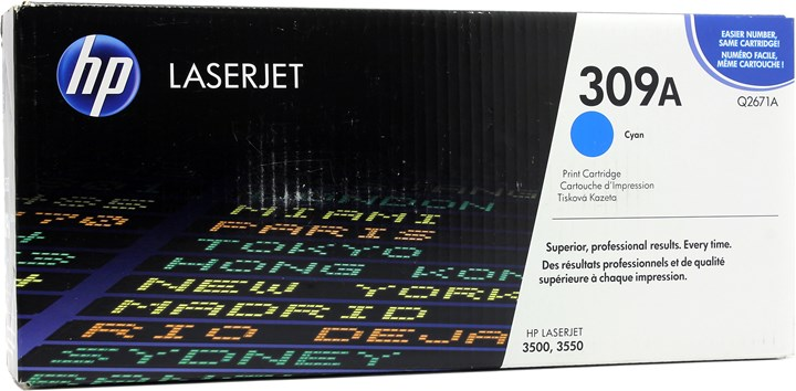 Картридж лазерный HP 309A/Q2671A, голубой, 1шт., 4000 страниц, оригинальный, для HP Color LaserJet 3550n / 3500